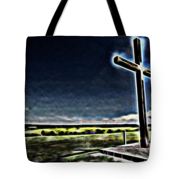 Tote Bag featuring the photograph Cross On The Hill by Douglas Barnard