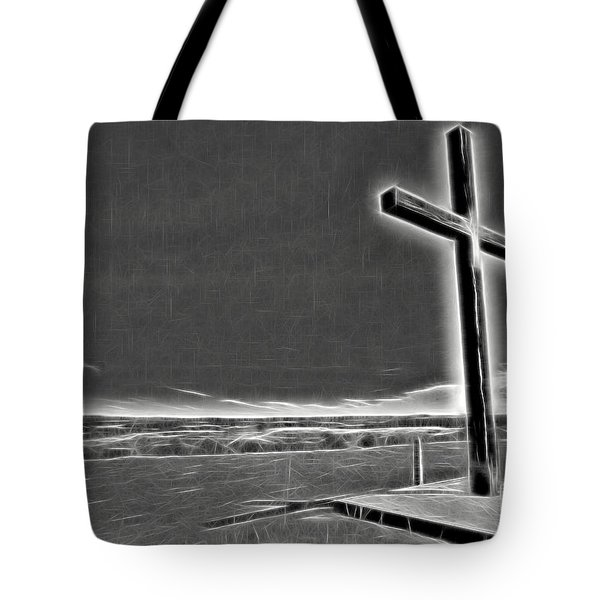 Tote Bag featuring the photograph Cross On The Hill V2 by Douglas Barnard