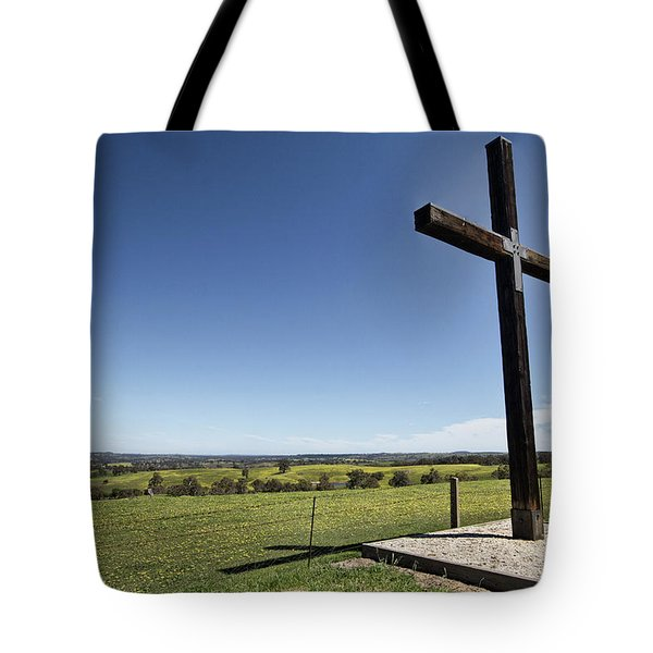 Tote Bag featuring the photograph Cross On The Hill V3 by Douglas Barnard
