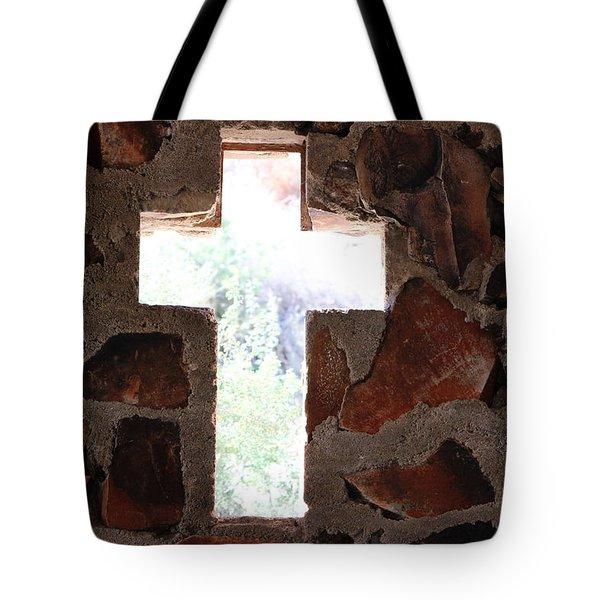 Cross Shaped Window In Chapel  Tote Bag