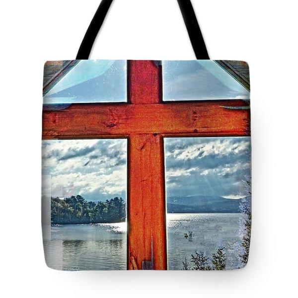 Cross Window Lake View  Tote Bag
