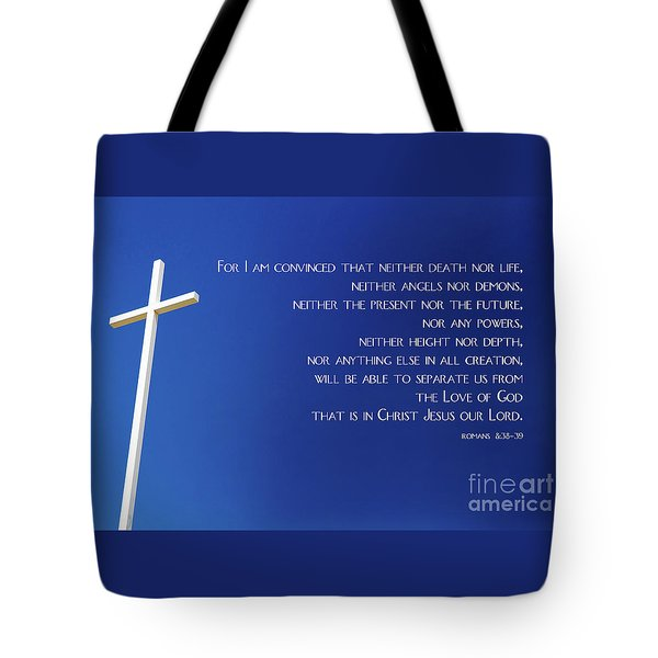 Tote Bag featuring the photograph Cross With Blue Sky by Steven Frame