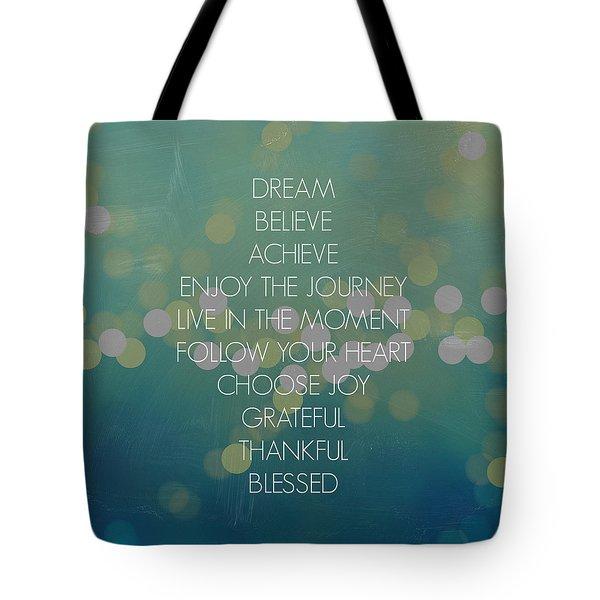 Cross Words Bokeh Tote Bag by Inspired Arts