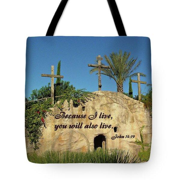 Crosses And Resurrection Tote Bag