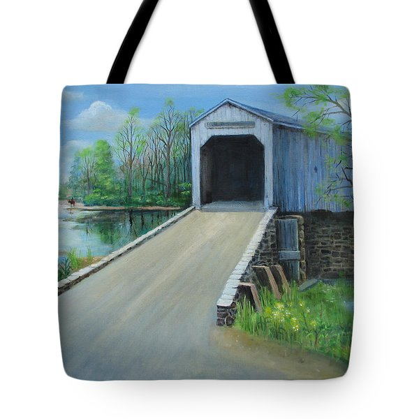 Tote Bag featuring the painting Crossing At The Covered Bridge by Oz Freedgood