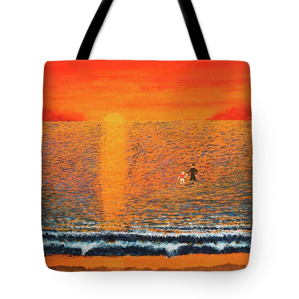 Tote Bag featuring the painting Crossing Over by Thomas Blood