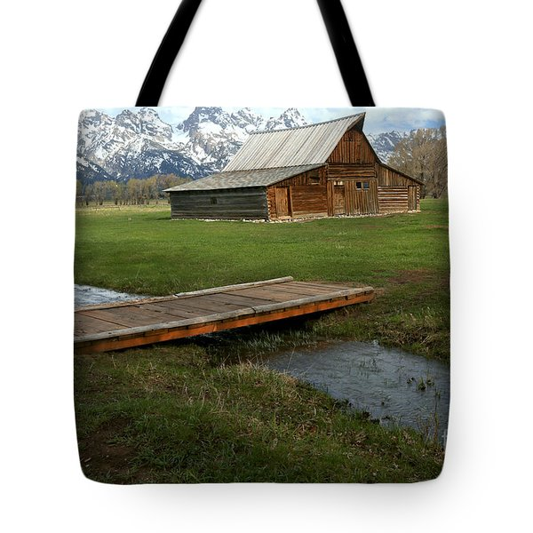 Crossing The Creek Along Mormon Row Tote Bag by Adam Jewell
