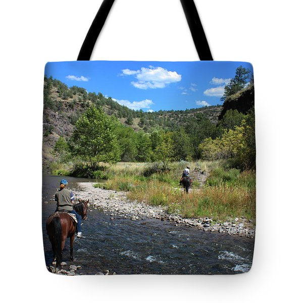 Crossing The Gila On Horseback Tote Bag