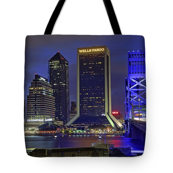Crossing The Main Street Bridge - Jacksonville - Florida - Cityscape Tote Bag by Jason Politte