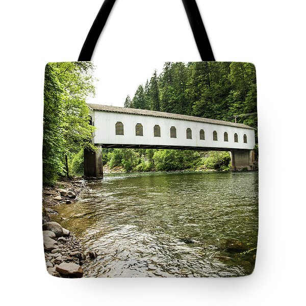 Crossing The Mckenzie River Tote Bag