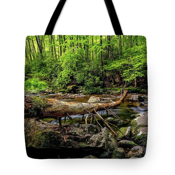 Tote Bag featuring the photograph Crossing The Stream by Christopher Holmes