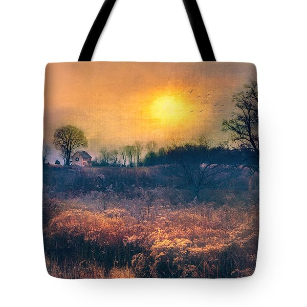 Crossing Through The Meadows Tote Bag by John Rivera