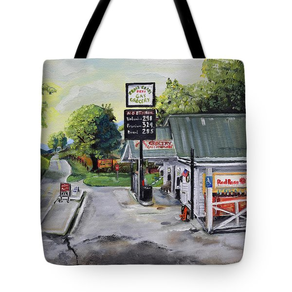 Tote Bag featuring the painting Crossroads Grocery - Elijay, Ga - Old Gas And Grocery Store by Jan Dappen