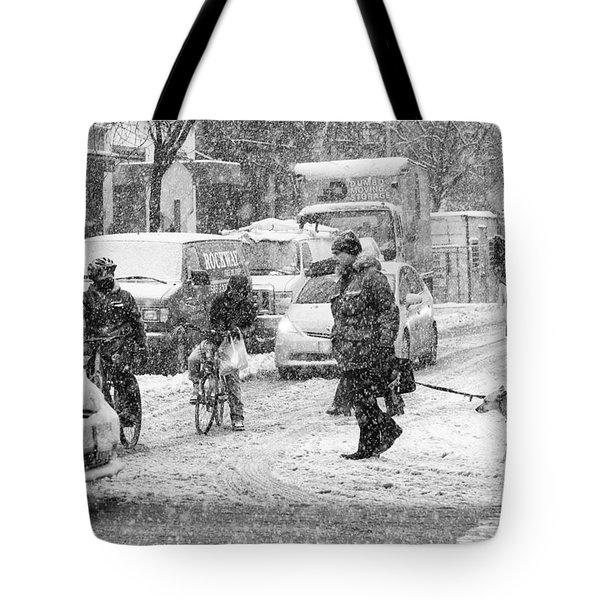 Crosswalk In Snow Tote Bag