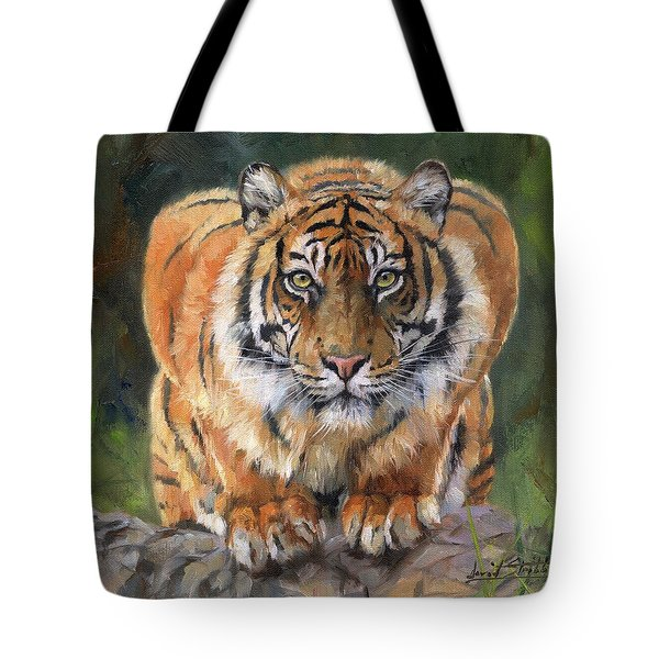 Tote Bag featuring the painting Crouching Tiger by David Stribbling