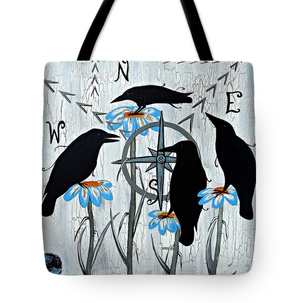 Crow Flowers Tote Bag