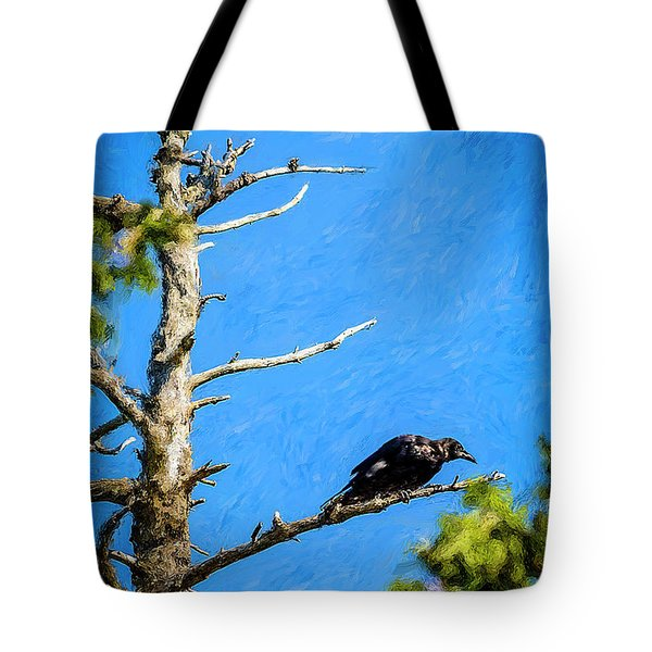 Crow In An Old Tree Tote Bag by Ken Morris