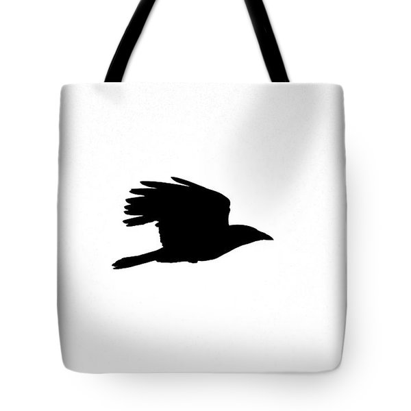 Crow In Flight Silhouette Tote Bag