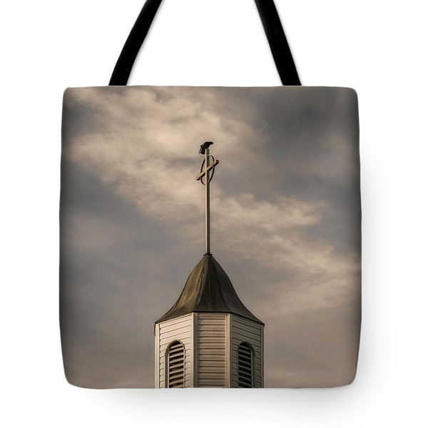 Crow On Steeple Tote Bag by Richard Rizzo
