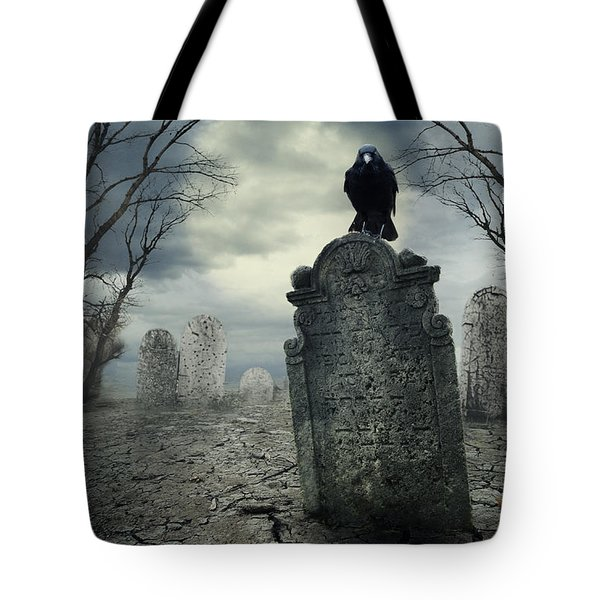Crow On The Tombstone Tote Bag