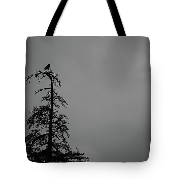 Crow Perched On Tree Top - Black And White Tote Bag