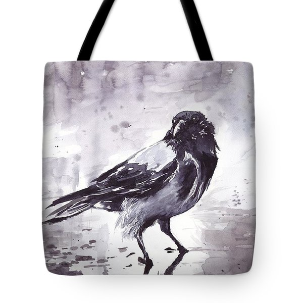 Crow Watercolor Tote Bag