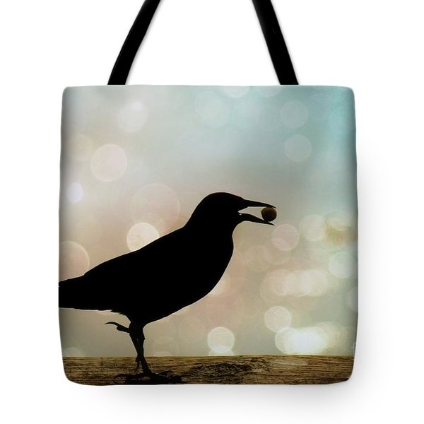 Tote Bag featuring the photograph Crow With Pistachio by Benanne Stiens