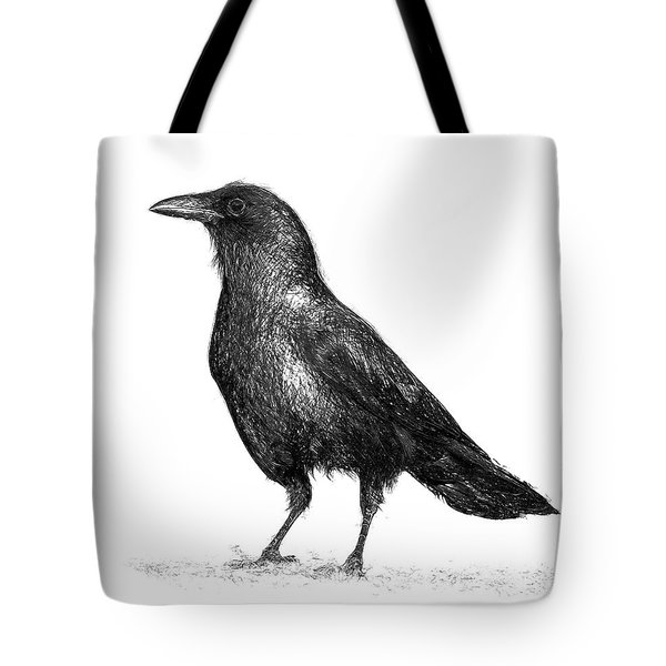 Crow B And W Tote Bag