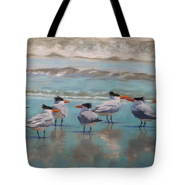 Tote Bag featuring the painting Crowd Control by Pam Talley