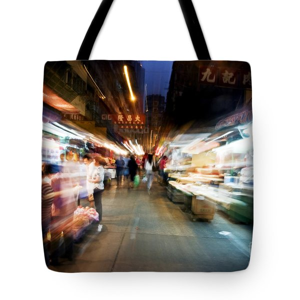 Crowds Moving Through Jordan Tote Bag by Ray Laskowitz - Printscapes