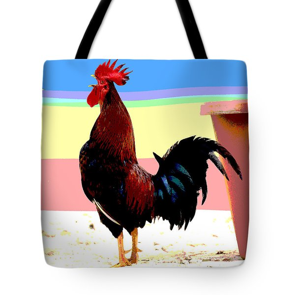 Tote Bag featuring the mixed media Crowing Cock by Charles Shoup