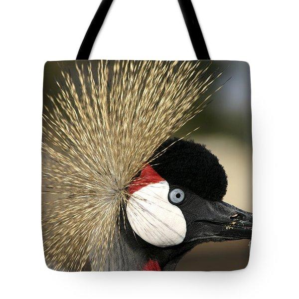 Crown Crane Close Up Tote Bag by Danny Yanai