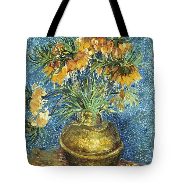 Crown Imperial Fritillaries In A Copper Vase Tote Bag by Vincent Van Gogh