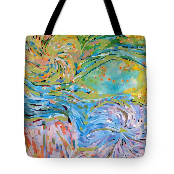 Tote Bag featuring the painting Himalaya Code - Crown by Linda Cull
