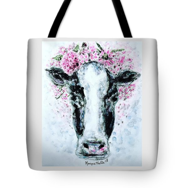 Crown Of Flowers Cow Tote Bag