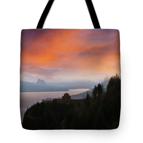 Crown Point At Columbia River Gorge During Sunrise Tote Bag