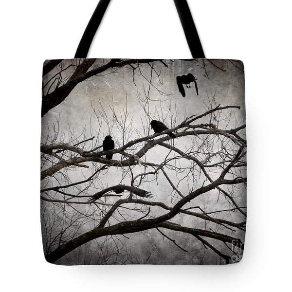 Crows At Midnight Tote Bag by Angie Rea