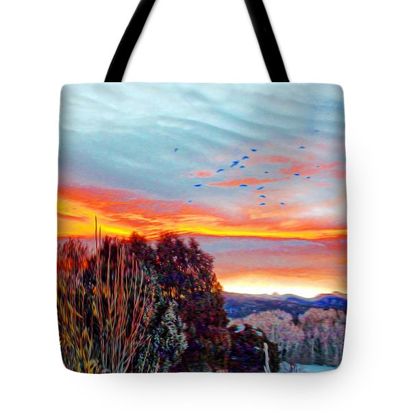 Tote Bag featuring the photograph Crows Before Dawn El Valle New Mexico by Anastasia Savage Ealy