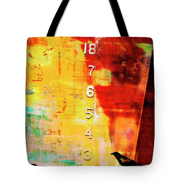 Crows By The Numbers Mixed Media Tote Bag