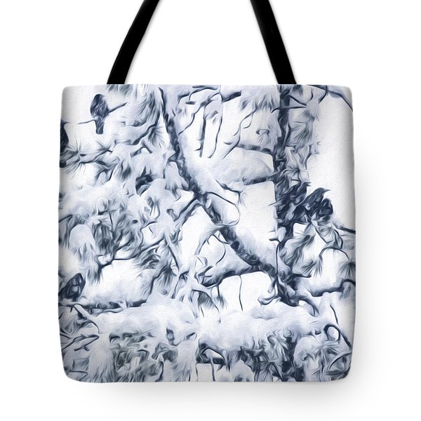 Crows In Snow Tote Bag