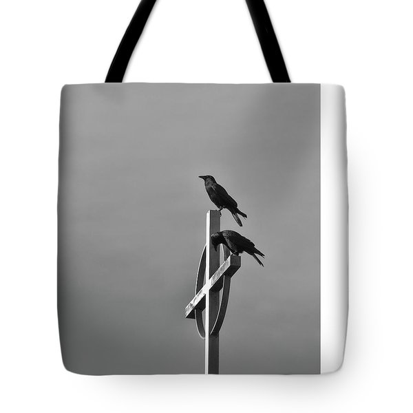 Crows On Steeple Tote Bag by Richard Rizzo