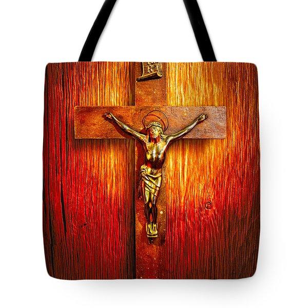 Crucifix On Wood Tote Bag