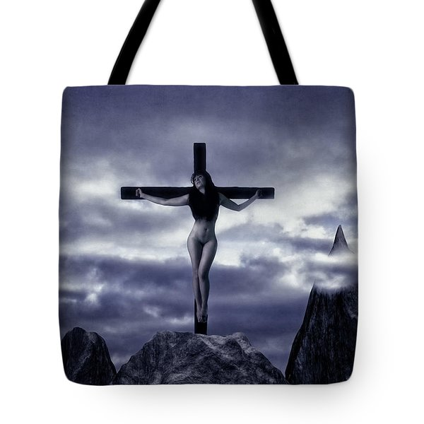 Crucifixion On The Mountain Tote Bag