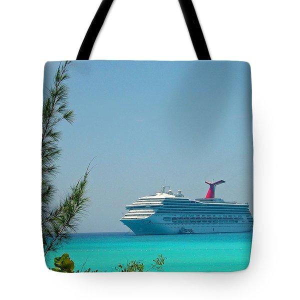 Cruise Ship At Half Moon Cay Tote Bag