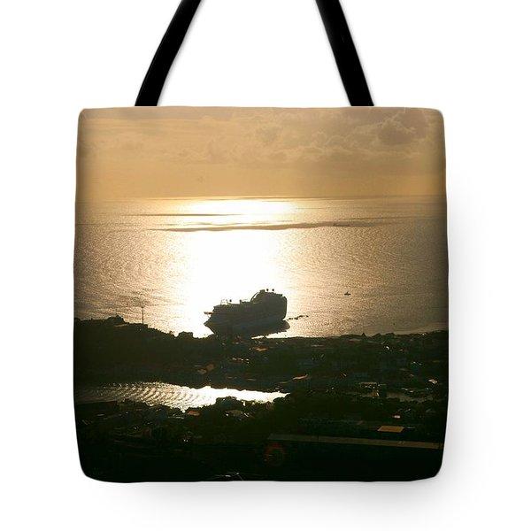 Cruise Ship At Sunset Tote Bag