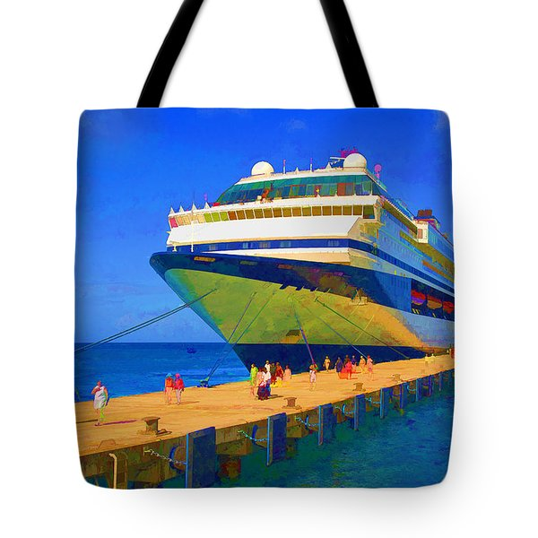 Tote Bag featuring the photograph Cruise Ship Dock by Dennis Cox WorldViews