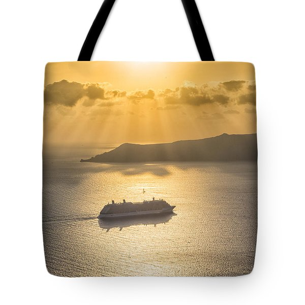 Cruise Ship In Greece Tote Bag
