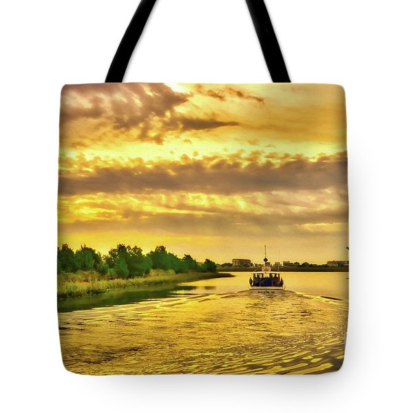 Tote Bag featuring the photograph Cruising Out Of Murrells Inlet by Mel Steinhauer