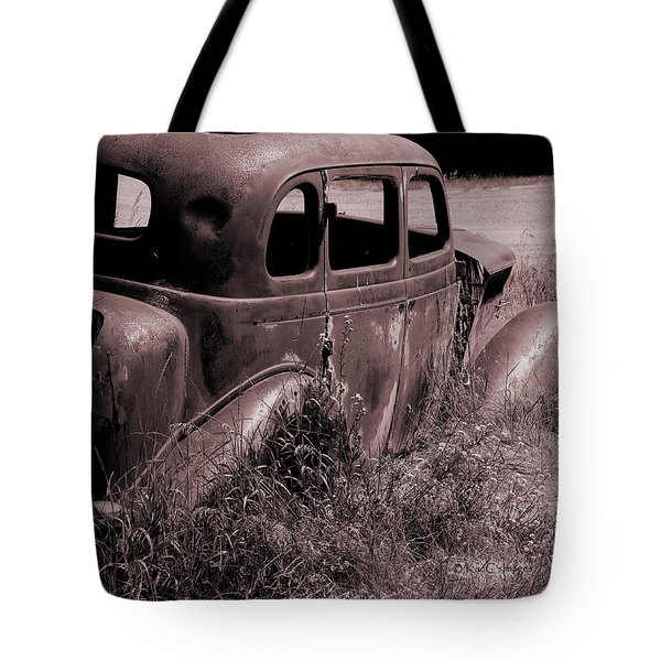 Tote Bag featuring the photograph Crumbling Car by Kae Cheatham