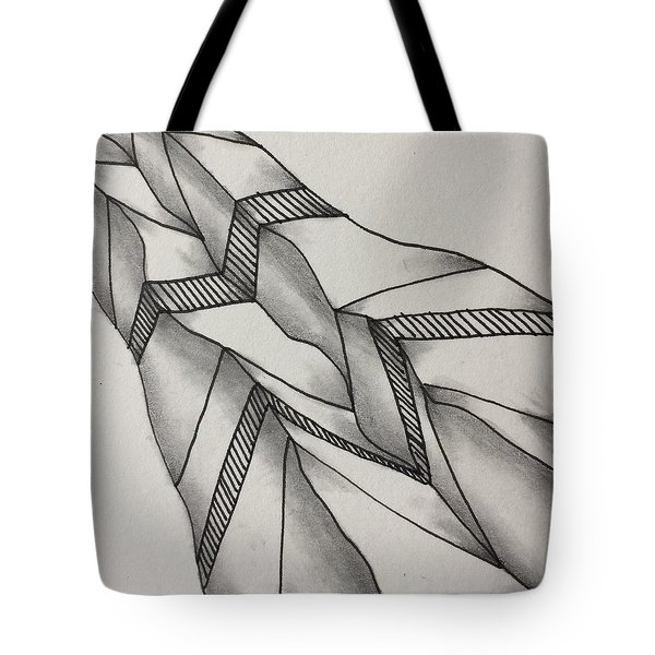Tote Bag featuring the drawing Crumpled by Jan Steinle